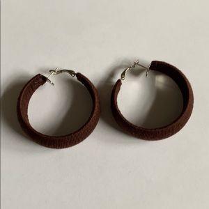 """2"""" Brown hoop  earrings thread wrapped"""